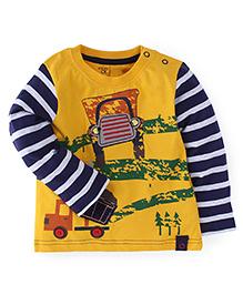 Babyoye Full Sleeves Printed T-Shirt - Yellow Navy