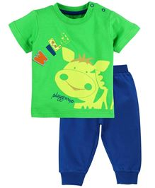 M&M Infant Half Sleeves T-Shirt And Track Pant Set - Green & Blue