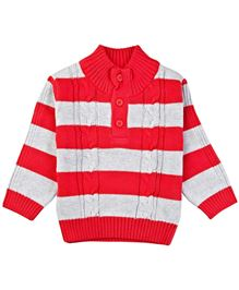 Babyoye Infant Sweater With Stripes - Red