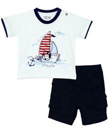 Babyoye Half Sleeves Boat Printed T-Shirt And Shorts Set - Navy
