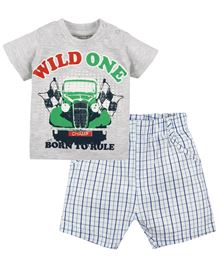M&M Infant Wild One Printed T-Shirt And Check Shorts Set - Grey