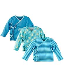 M&M Full Sleeves Infants Jhabla Pack Of 3 - Blue