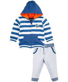 Babyoye Hooded Sweatshirt With Track Pant - Blue & Grey
