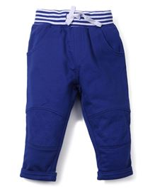 M&M Track Pant With Striped Waistband - Blue