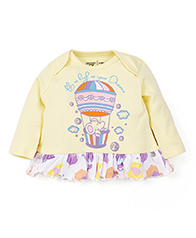 M&M Full Sleeves Printed Frock - Yellow