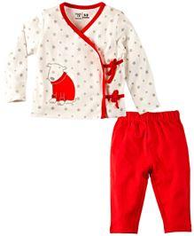 Babyoye Full Sleeves Side Tie-Up Top And Leggings Set - Cream & Red