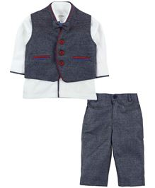 M&M Shirt Waistcoat And Trouser Set - Grey And White