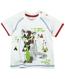 Babyoye Cub Printed Short Sleeves Tee - White and Red