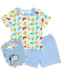 M&M Baby T-Shirt And Shorts With Bib Pack of 3 - Light Blue