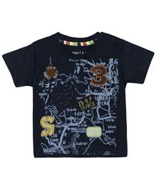 M&M Half Sleeves T-Shirt Printed - Navy Blue