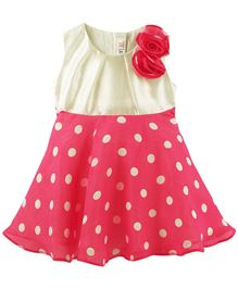 M&M Polka Dot Printed Sleeveless Dress With Rose Embellishment - Multi Colour