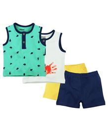 Babyoye Sleeveless Front Open Tee With Short Pack Of 2 - Multi Colour