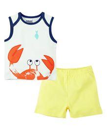 Babyoye Sleeveless Crab Print Tee With Short - White And Yellow