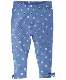Babyoye Flower Printed Legging With Bow Applique - Blue