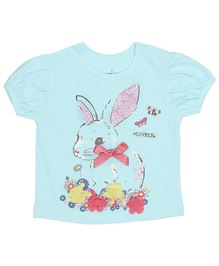 M&M Short Sleeves Top With Bunny Print - Blue