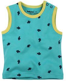 Babyoye Fish Print Sleeveless Tee - Blue