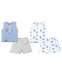 M&M Sleeveless Tee With shorts Pack Of 2 - Blue White