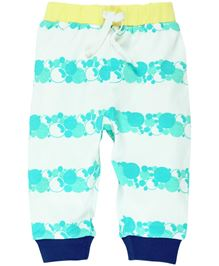 Babyoye Leggings Octopus patch - White And Aqua Blue