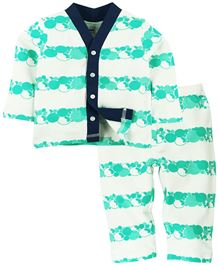 Babyoye Full Sleeves Printed Night Wear Set - White Aqua Blue