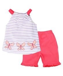 Babyoye Butterfly Patch On Sleeveless Top With Frills Pant - Pink
