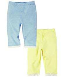 Babyoye Leggings With Lace Bottom Pack of 2 - Light Yellow And Blue