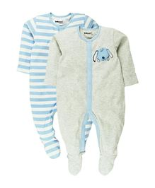 Babyoye Sleepsuit With Attached Mitten And Booties Pack Of 2 - Blue Grey