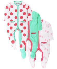 Babyoye Sleep Suit Pack Of 3 - Light Green White And Pink