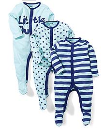 Babyoye Full Sleeves Sleep Suit Pack of 3 - Aqua And Blue