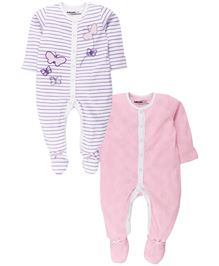 Babyoye Sleepsuit With Attached Mitten And Botties Pack Of 2 - Purple Pink