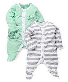 Babyoye Full Sleeves Sleep Suit Set of 2 - Green And Grey