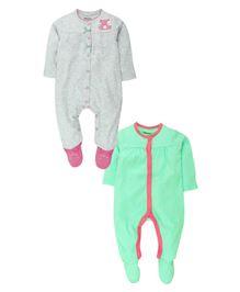 Babyoye Sleep Suit Pack Of 2 - Grey & Green