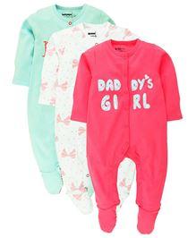 Babyoye Sleep Suit Pack Of 2 - Green White And Pink