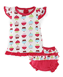Snuggles Cap Sleeves Frock With Bloomer Fruit Print - Off White Pink