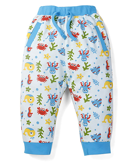 Snuggles Full Length Leggings With Front Pocket - Off White & Blue