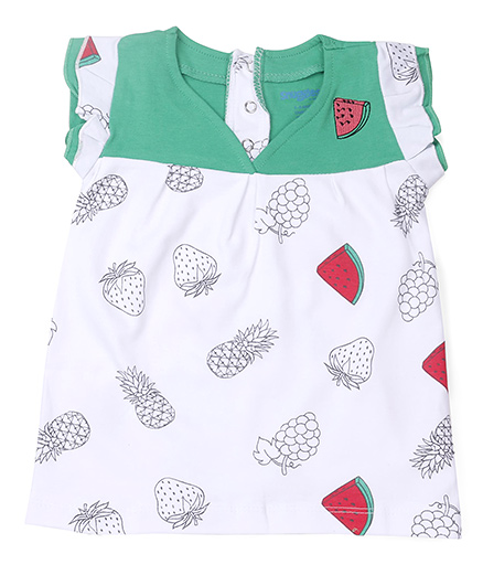 Snuggles Short Sleeves Frock Fruit Print - White Green