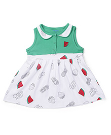 Snuggles Sleeveless Frock With Bloomer Fruit Print - White Red