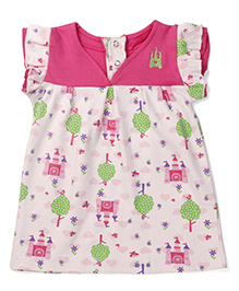 Snuggle Cut & Sew Frock With Castle Print - Pink