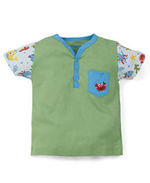 Snuggles Half Sleeves T-Shirt Crab Embroidery - Green