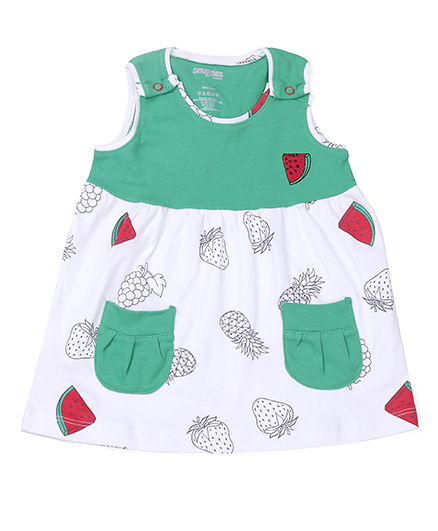 Snuggles Sleeveless Frock Fruit Print - White Green