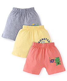 Snuggles Shorts Pack Of 3 - Yellow Coral Grey