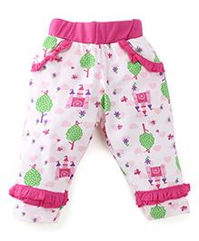 Snuggles Full Length Leggings Castle Print - Pink