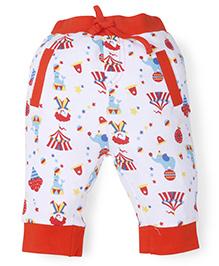 Snuggles Full Length Leggings Circus Print - White Orange