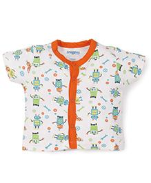 Snuggles Half Sleeves Vest Robot Print - White Orange