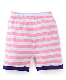 Snuggles Stripe Shorts - White Red