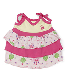 Snuggles Singlet Layered Frock Castle Print - Pink Yellow