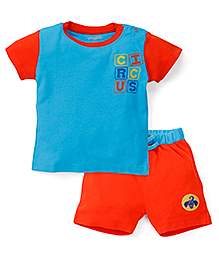 Snuggles Half Sleeves T-Shirt With Shorts Circus Print - Blue Orange