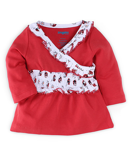 Snuggles Full Sleeves Frock Beetle Print - Red