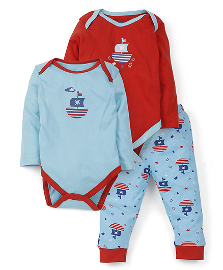 Snuggles Two Onesies And 1 Legging Set - Red Blue
