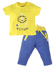 Snuggles Half Sleeves T-Shirt And Bottoms Set - Blue Yellow