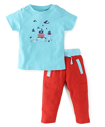 Snuggles Half Sleeves T-Shirt And Bottoms - Blue Red